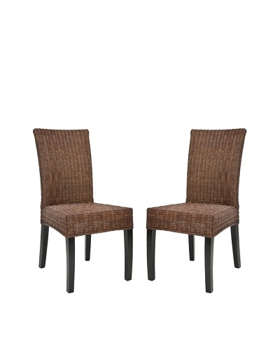 Safavieh Set of 2 Grayton Side Chairs, Dark Brown