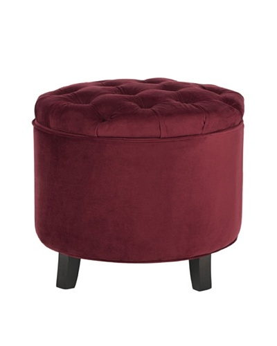 Safavieh Amelia Tufted Storage Ottoman, Red Velvet