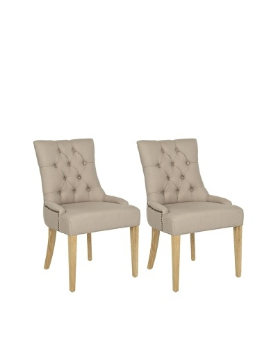 Safavieh Set of 2 Ashley Side Chairs, Taupe