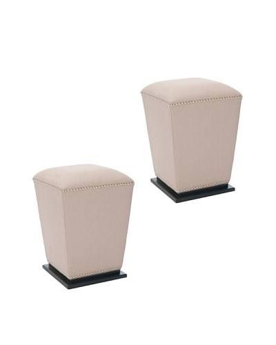 Safavieh Set of 2 Mason Ottomans, Taupe