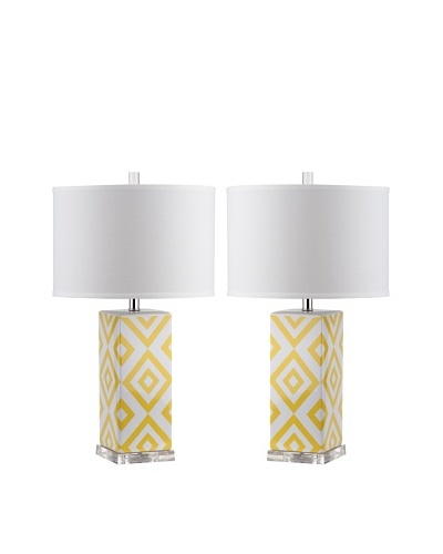 Safavieh Set of 2 Diamonds Table Lamps, Yellow