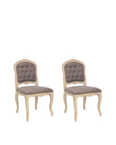 Set of 2 Carissa Side Chairs, Chinchilla Brown