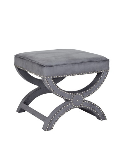 Safavieh Mystic Ottoman, Pewter Gray/Nickel