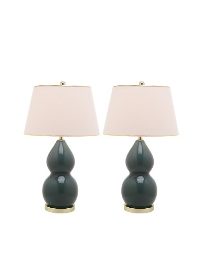 Safavieh Set of 2 Jill Double-Gourd Ceramic Lamps