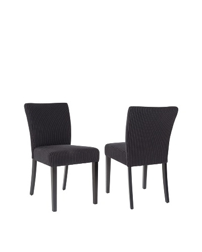 Safavieh Set of 2 Camille Dining Chairs, Black/Cream Stripe