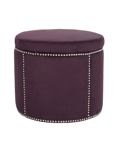 Safavieh Jody Storage Ottoman, Merlot/Nickel