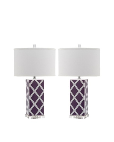 Safavieh Set of 2 Garden Lattice Table Lamps, Light Purple