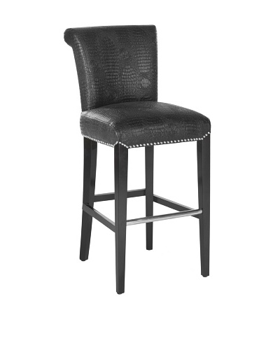 Seth Bar Stool, Black Croc