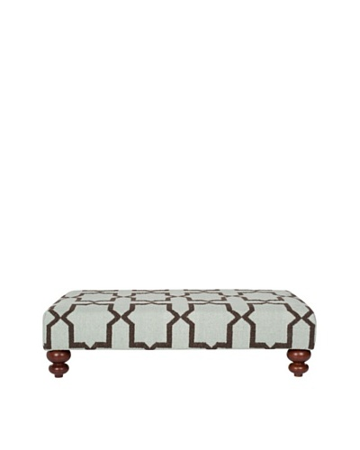 Safavieh Moorish Tile Dhurrie Ottoman, Light Blue/Brown