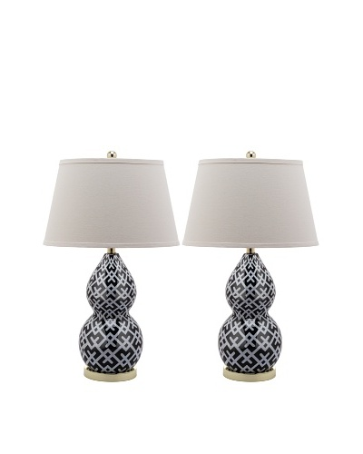 Safavieh Set of 2 Gourd Decal Lamps, Black/White/Gold