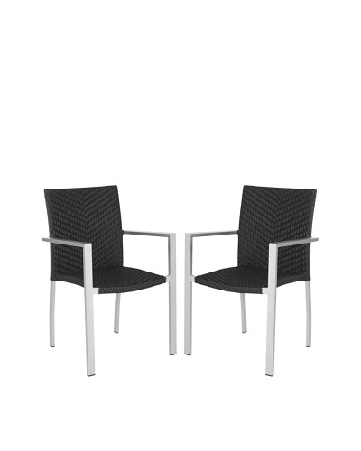 Safavieh Set of 2 Cordova Indoor/Outdoor Stacking Armchairs, Black