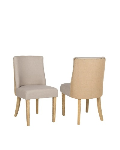 Safavieh Set of 2 Judy Side Chairs, Taupe/Beige