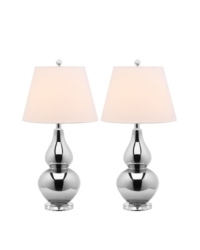 Safavieh Cybil Double Gourd Lamp, Set Of 2, Silver Neck With Silver Shade