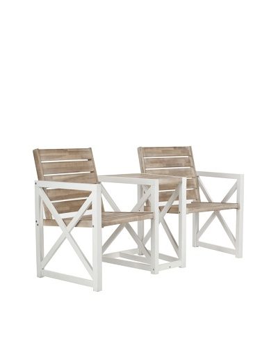 Safavieh Jovanna 2 Seat Bench [White/Oak]