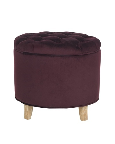 Safavieh Amelia Tufted Storage Ottoman, Bordeaux
