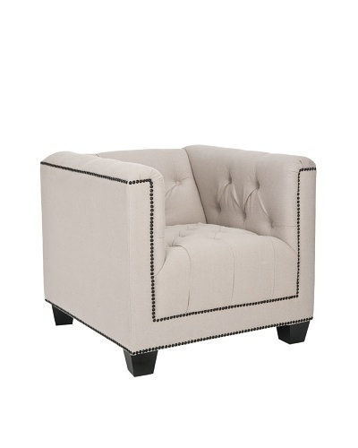 Safavieh Bentley Club Chair, Beige/Dark Java