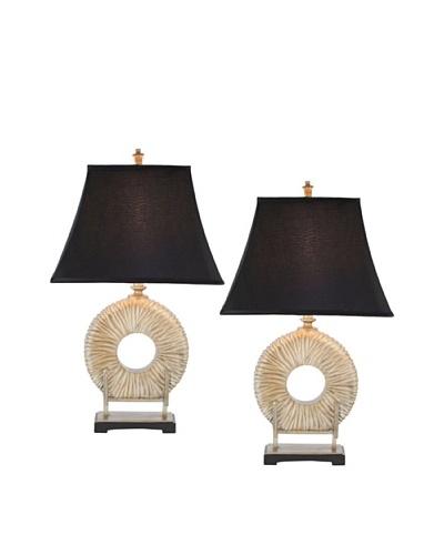 Safavieh Set of 2 Gabriella Circle Lamps, Gold