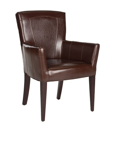 Safavieh Dale Arm Chair, Brown Leather