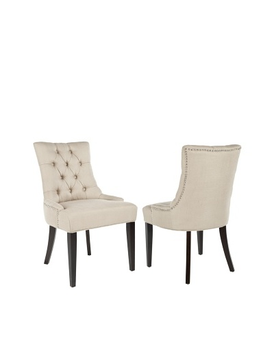 Safavieh Set of 2 Ashley Side Chairs, Biscuit Beige