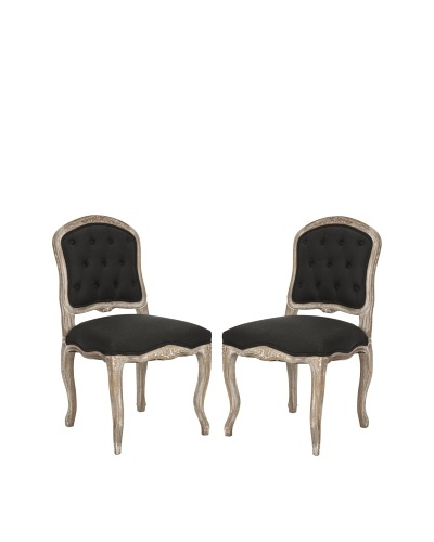 Set of 2 Carissa Side Chairs, Black