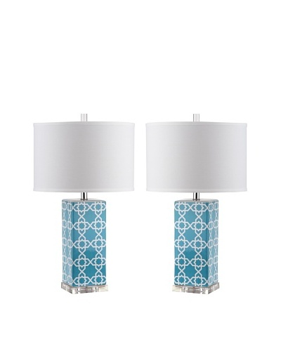 Safavieh Set of 2 Quatrefoil Table Lamps, Light Blue