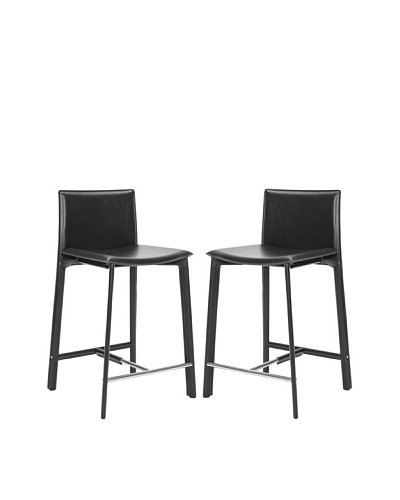 "Safavieh Set of 2 Janet 24"" Counter Stools, Black"