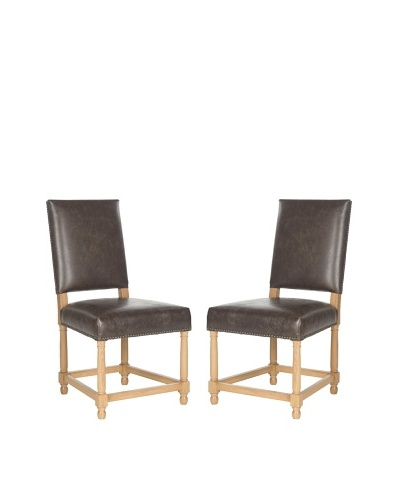 Set of 2 Faxon Side Chairs, Antique Brown