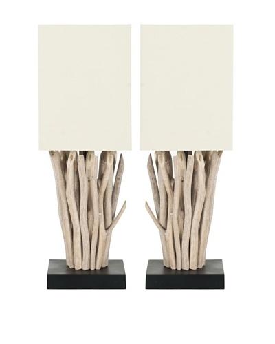 Safavieh Set of 2 Aspen Branch Mini Table Lamps, White Wash