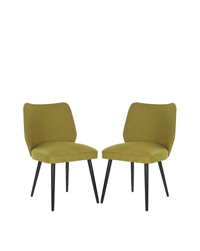 Safavieh Set of 2 Ethel Dining Chairs, Sweet Pea Green