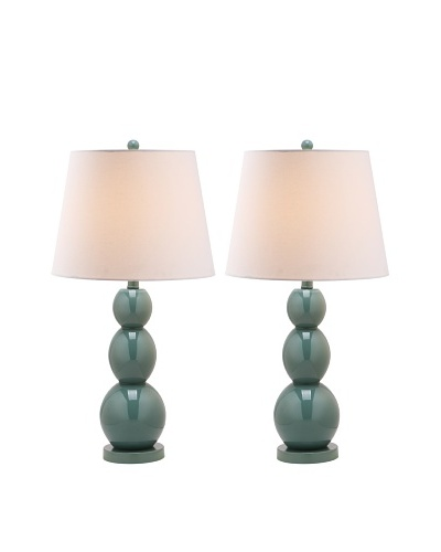 Safavieh Set of 2 Glass/Metal Lamps, Light Blue