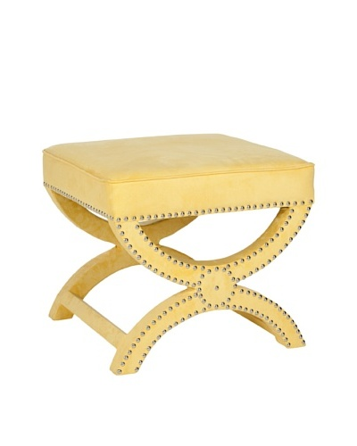 Safavieh Mystic Ottoman, Yellow/Nickel
