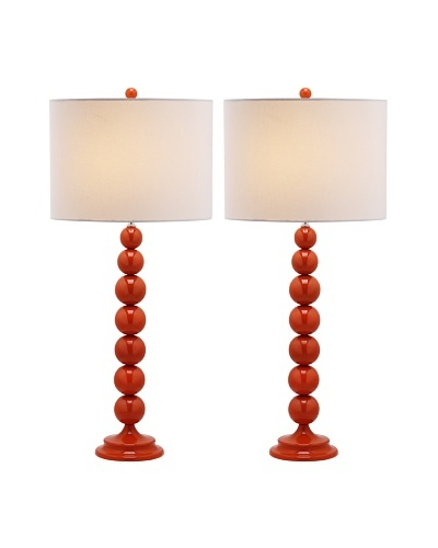 Safavieh Jenna Stacked Ball Lamp, Set Of 2, Blood Orange