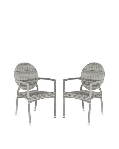 Safavieh Set of 2 Valdez Indoor/Outdoor Stacking Arm Chairs, Grey