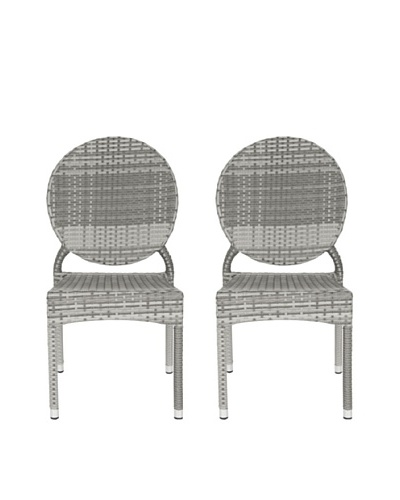Safavieh Set of 2 Valdez Indoor/Outdoor Stacking Side Chairs, Grey