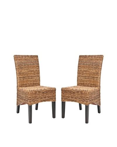 Safavieh Set of 2 Laguna Side Chairs, Multi Browns/Natural