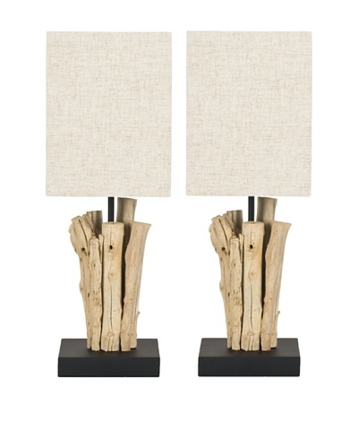 Safavieh Set of 2 Arcadia Branch Mini Table Lamps, Bleach