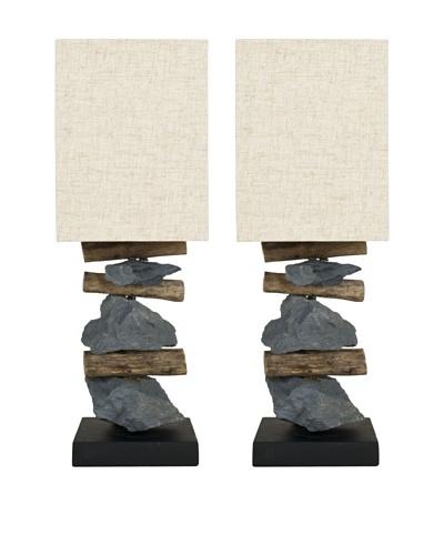 Safavieh Set of 2 Highlander Mini Table Lamps, Natural/Stone