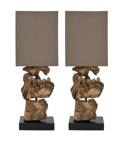 Safavieh Set of 2 Oregon Root Mini Table Lamp, Natural With Natural; Brown Shade