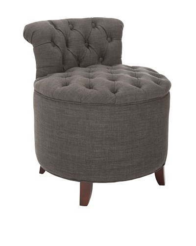 Safavieh Rebecca Tufted Vanity Stool, Charcoal Brown