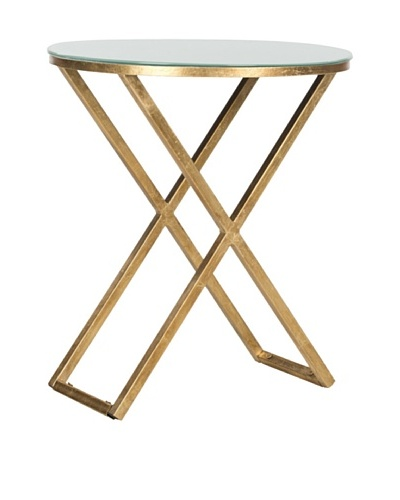 Safavieh Riona Accent Table, Gold/White Glass Top