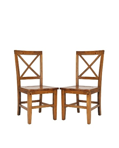 Set of 2 Gavin Crossback Side Chairs, Medium Oak