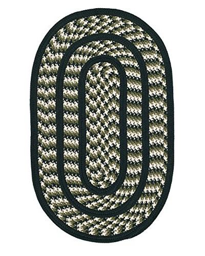 Safavieh Braided Rug, Ivory/Dark Green, 8' x 10' Oval