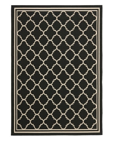 Safavieh Courtyard Indoor/Outdoor Rug, Black/Beige, 5' 3 x 7' 7