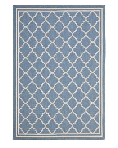 "Safavieh Courtyard Indoor/Outdoor Rug, Blue/Beige, 6' 7"" Round"