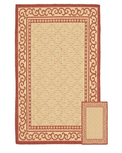"Safavieh Set of 2 Courtyard Indoor/Outdoor Rugs, Natural/Red, 6' 6"" x 9' 6""/1' 8"" x 2..."