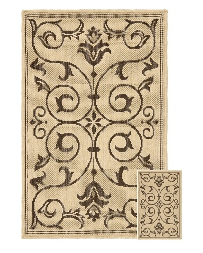 "Safavieh Set of 2 Courtyard Indoor/Outdoor Rugs, Natural/Chocolate, 6' 6"" x 9' 6""/1' 8&quo..."