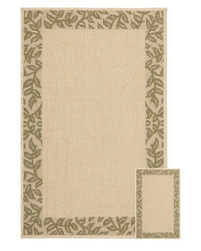 Safavieh Set of 2 Courtyard Indoor/Outdoor Rugs, Natural/Green, 6' 6 x 9' 6/1' 8 x 2' 8