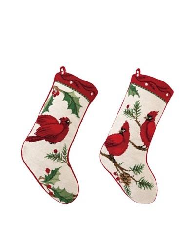 Sally Eckman Roberts Set of 2 Winterberry Cardinal Needlepoint Stockings