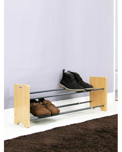 Samsonite 2-Tier Expandable Shoe Rack with Natural Wood EndAs You See