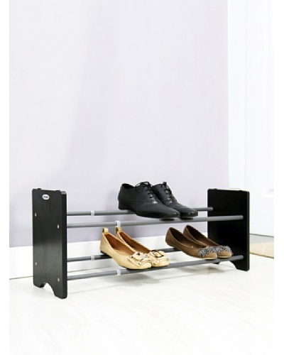 Samsonite 2-Tier Expandable Shoe Rack with Black Wood End